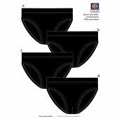 Lot de 4 slips taille basse Influx basic NOIR X4 T3