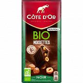 Côte d'or tablette noir noisettes bio 150g