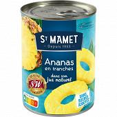 St Mamet ananas origine 10 tranches entières 345g net égoutté