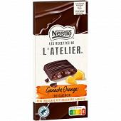 Nestlé Les Recettes de L'Atelier tablette de chocolat noir ganache orange 144g