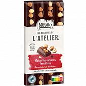 Nestlé Les Recettes de L'Atelier tablette de chocolat noir et noisettes entières 170g