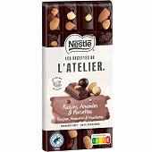 Nestlé Les Recettes de L'Atelier tablette de chocolat noir raisins amandes noisettes 170g
