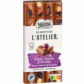 Nestlé Les Recettes de L'Atelier tablette de chocolat au lait raisins amandes et noisettes 170g
