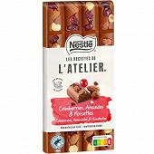 Nestlé Les Recettes de L'Atelier tablette de chocolat au lait cranberries noisettes et amandes 170g
