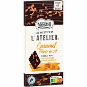 Nestlé Les Recettes de L'Atelier tablette de chocolat noir caramel et pointe de sel 115g