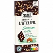 Nestlé Les Recettes de L'Atelier tablette de chocolat noir et amandes grillées 115g