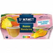St Mamet mon ananas mandarine ans sucres ajouté 4x120g