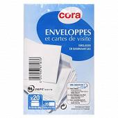 Cora 20 cartes 8.2x12.8 cm + 20 enveloppes 9x14 cm sous cellophane