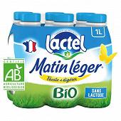Lactel Matin léger lait bio bouteille UHT  1.2% mg 6x1l