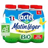 Lactel lait uhh bio matin léger entier sans lactose bp 6x1l