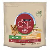 PURINA ONE MINI Active Croquettes pour chiens de petite taille (1-10kg) Poulet & Riz - 1,5kg