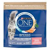 PURINA ONE Croquettes pour chat adulte stérilisé au Saumon et Céréales Complètes - 1,5 KG