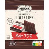 Nestlé Les Recettes de L'Atelier Carrés de chocolat noir intense 70% sachet de 210g