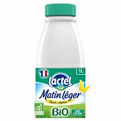 Matin Léger de Lactel lait uht bio écrémé bouteille 1l