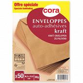 Cora 50 enveloppes kraft P.E.F.C. Auto adhésives 16.2 x 22.9 cm 90 grammes