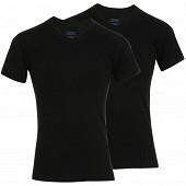 Lot de 2 tee-shirts manches courtes col v coton bio Athena 650 NOIR/NOIR T7