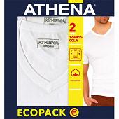 Lot de 2 Tee-shirt manches courtes col V Duo Choc Athena 300 BLANC/BLANC T7