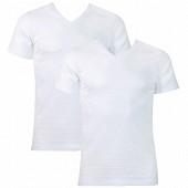 Lot de 2 Tee-shirt manches courtes col V Duo Choc Athena 300 BLANC/BLANC T3