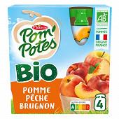Pom'potes bio ssa pomme pêche brugnon 4x90g