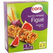 Cora barres céréales figue 6 x 21g soit 126g