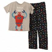 Pyjama long jersey manches courtes garçon BLEU/ GRIS CHINE 10ANS