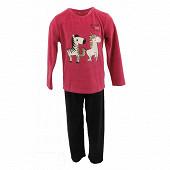 Pyjama long manches longues fille FUSHIA/NOIR 12ANS
