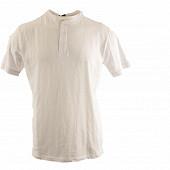 Tee shirt col tunisien manches courtes homme BLANC XL