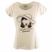 Tee shirt manches courtes femme ECRU VISAGE 50\52