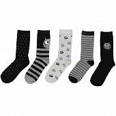 Lot de 5 paires de mi chaussettes fantaisies et unies HIBOUX GRIS/NOIR 37\41