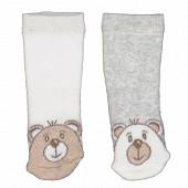 Lot de 2 paires de bottons bébé fantaisie Influx ECRU/GRIS 0\6MOIS