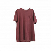 Tee shirt manches courtes col v homme uni poche BORDEAUX CHINE XL