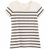 Tee shirt manches courtes rayé femme BLANC/MARINE T46\48