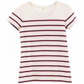 Tee shirt manches courtes rayé femme BLANC/PURPLE T50\52