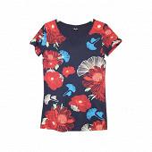 Tee shirt manches courtes femme NAVYBIGFLOWERS T50\52