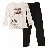 Pyjama long jersey manches longues fille ROUGE/ GRIS CHINE 12ANS