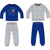 Lot de 2 pyjamas long jersey garçon BLEU/GRIS CHINE 10ANS