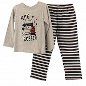 Pyjama long jersey manches longues garçon GRIS CHINE/MARINE 10 ANS