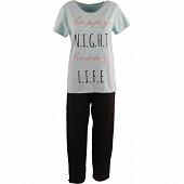 Pyjama long manches courtes femme GREEN/NOIR T50\52