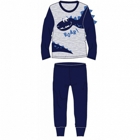 Pyjama long jersey manches longues garçon MARINE DINOSAURE 10ANS