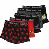 Lot de 5 boxers licence JURASSIC WORLD 8/10