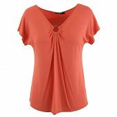 Tee shirt manches courtes encolure v anneau femme CORAIL UNI (TEECO11) 42\44