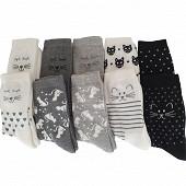 Lot de 10 paires de mi chaussettes fantaisies semi bouclette Influx Basic GRIS/ECRU/NOIR CHAT 36\40