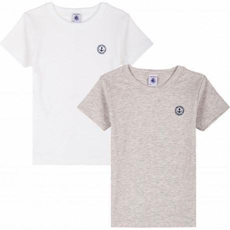 Lot de 2 tee shirts manches courtes Petit bateau 00 ECUME+BELUGA CHINE 12 ANS
