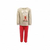 Pyjama fille velours GRIS CHINE/MANDARINE 6 ANS