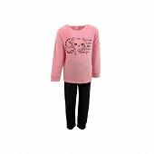 Pyjama fille velours PINK/BLACK 6 ANS