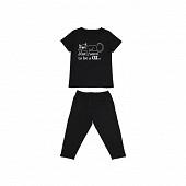 Pyjama corsaire manches courtes femme NOIR T50\52