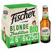 Fischer bio - pils biologique bière 6x25cl Vol.6%