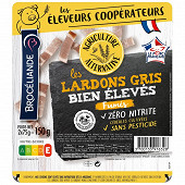 Brocéliande lardons fumés bien élevés agriculture alternative 2x75g
