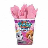 Gobelets carton x8 paw patrol pink 250ml