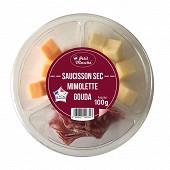 Bol de dès de fromage mimolette gouda + saucisson 100g